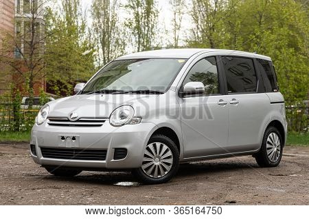 Novosibirsk/ Russia - May 02 2020: Silver Toyota Sienta,  Front View.  Modern Hatchback Made In Japa
