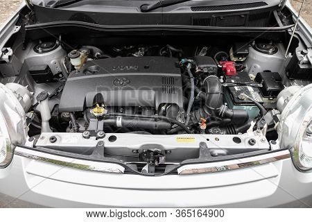 Novosibirsk/ Russia - May 02 2020: Toyota Sienta, Closeup Of A Clean Motor Block, . Internal Combust