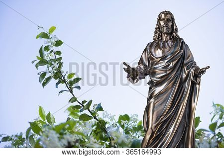 A Bronze Statue Of A Jesus Christ With Blue Sky And Star Anise In The Background