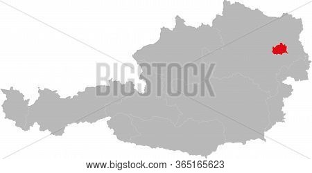 Vienna Province Highlighted On Austria Map. Light Gray Background.