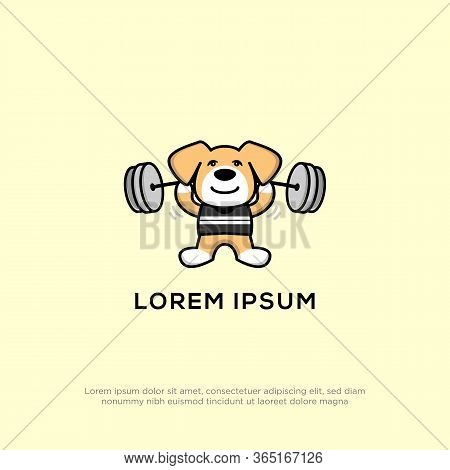 Puppy Dog Doing Fitness Logo Design, Puppies Love Sports Logo Design Vector Stock
