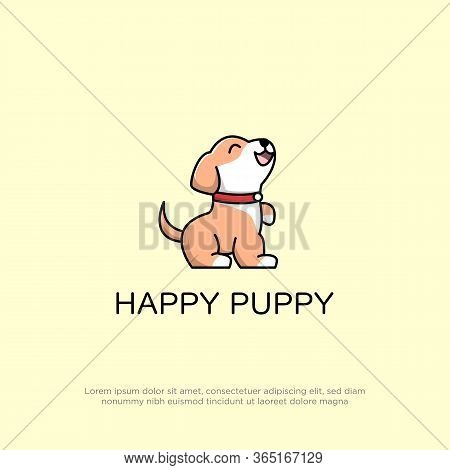 Cute Happy Puppy Logo Design With Cartoon Style, Smile Puppy Logo Design Vector Can Use For Your Tra