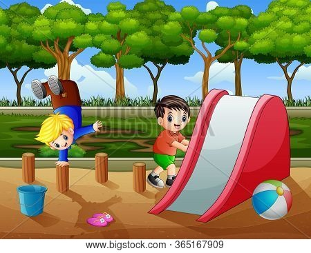 Happy Boys Playing In The Playground Illustration