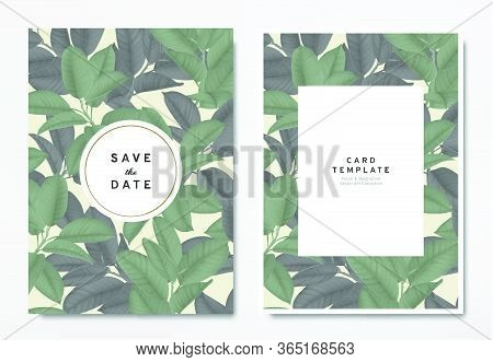 Greenery Wedding Invitation Card Template Design, Green And Black Ficus Elastica / Rubber Plant Leav