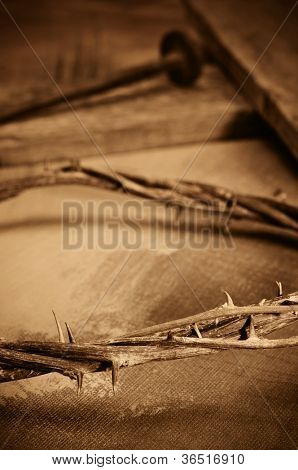 a representations of crown of thorns, cross and nails of Jesus Christ