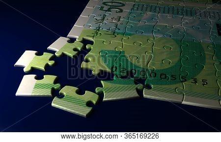 New Israeli Shekel Puzzle On Blue Background 3d Rendering
