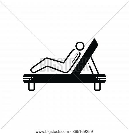 Black Solid Icon For Resting Chair Repose Slumber Lie Back Relax
