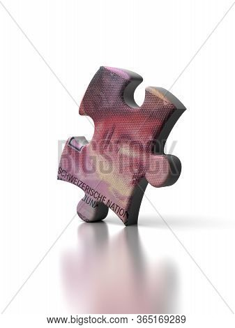Single Swiss Franc Puzzle (isolated On White Background) 3d Rendering
