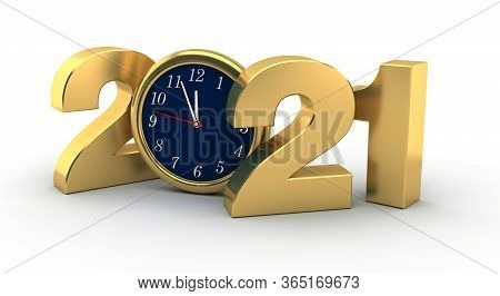 New Year 2021 (isolated On White Background) 3d Rendering