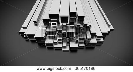 Metal Profile On Dark Background 3d Rendering