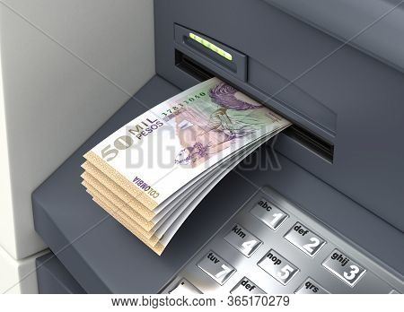 Withdrawal Colombian Pesos From The Atm 3d Rendering