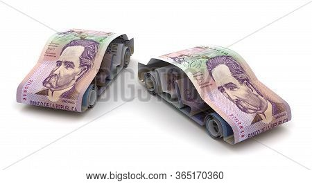 Car Finance With Colombian Pesos (isolated On White Background) 3d Rendering