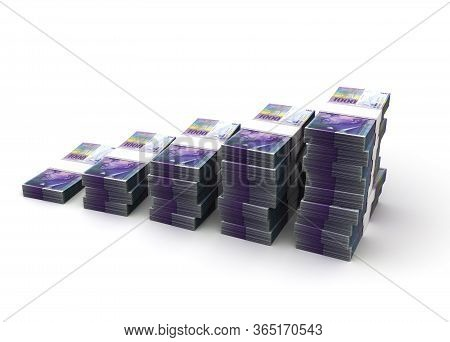 Colombian Pesos Bar Graph (isolated On White Background) 3d Rendering