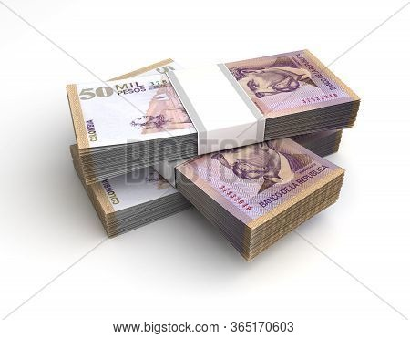 Stack Of Colombian Pesos (isolated On White Background) 3d Rendering