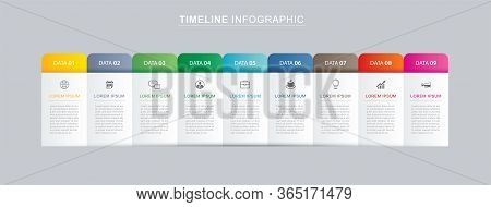 9 Data Infographics Tab Paper Index Template. Vector Illustration Abstract Background. Can Be Used F