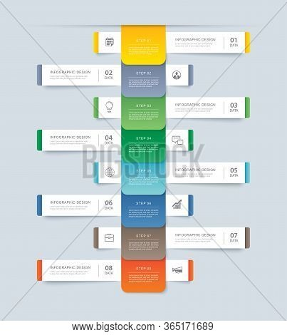 8 Data Step Infographics Timeline Tab Paper Index Template. Vector Illustration Abstract Background.
