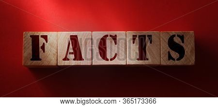 Fact Word Written In Wooden Cube. True Or False Fake And Real Facts And News Concept