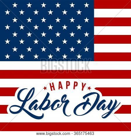 Labor Day Greeting Card With Brush Stroke Background In United States National Flag Colors And Hand