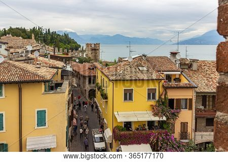 Sirmione, Italy, October 01, 2015 : View Of The City From The Height Of The Castello Scaligero Fortr