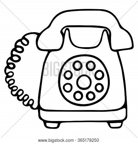 Landline telephone. The device with a disk dialer. A device for receiving and transmitting sound at a distance. Vector illustration. Outline on an isolated white background. Doodle style. Sketch. Stained glass retro model. Telephone.
