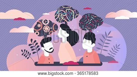 Mind Behavior Concept, Flat Tiny Persons Vector Illustration. Abstract Inner Thought Process And Sym