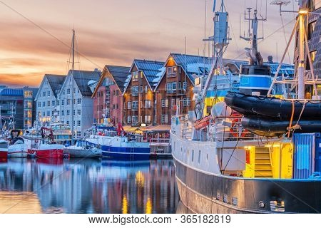 Tromso harbour at sunset, Norway