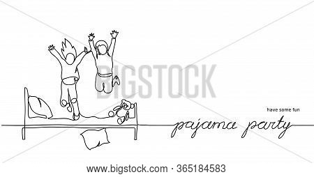 Pajama Party, Sleepover Fun. Simple Vector Illustration Of Jumping Kids On The Bed. One Continuous L