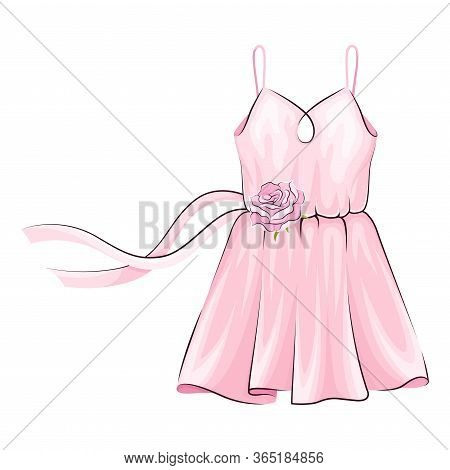 Pink Dress With Flared Skirt And Ribbon Adornment Vector Illustration