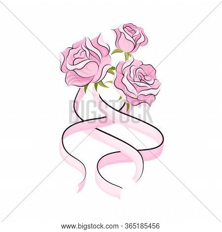 Pink Rose Flowers And Long Satin Ribbon As Ballet Accessory Vector Illustration