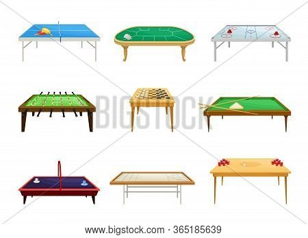 Tables For Board Games With Tennis Table And Billiard Table Vector Set