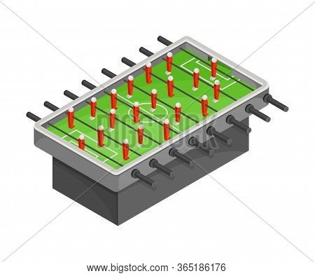 Table For Football Or Foosball With Figures As Tabletop Game Vector Illustration