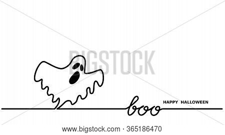 Ghost Says Boo.happy Halloween Vector Simple One Continuous Line Drawing For Background, Banner, Ill