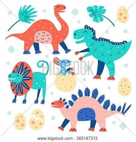 Set Of Little Cute Dinosaurs. Triceratops, T-rex, Diplodocus, Palm Leaf, Stegosaurus. Prehistoric An