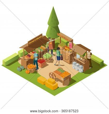 Farm Local Market Isometric Composition With Farmer Greengrocer Characters Selling Natural Organic F