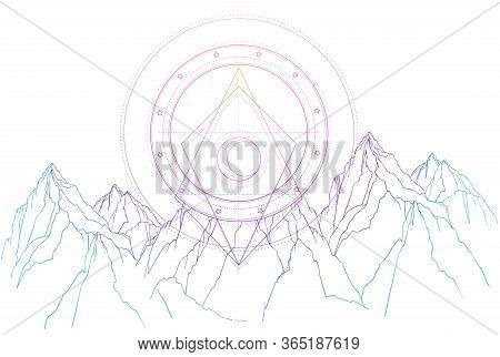 Mountain Landscape Scene. Vector Illustration Isolated. Outdoors Nature And Sacred Geometry Crescent