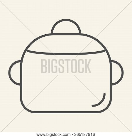 Pan Thin Line Icon. Steel Saucepan Symbol, Outline Style Pictogram On Beige Background. Cooking Pot
