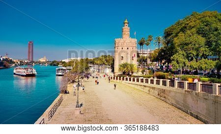Seville, Spain - 10 February 2020 : View Of Golden Tower Torre Del Oro In Beautiful Seville Spain Ci