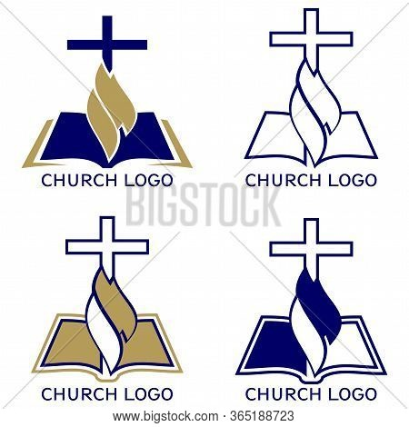 Church Logo Set, Symbol Of Christianity, The Cross And The Gospel, Scripture, Vector Illustration