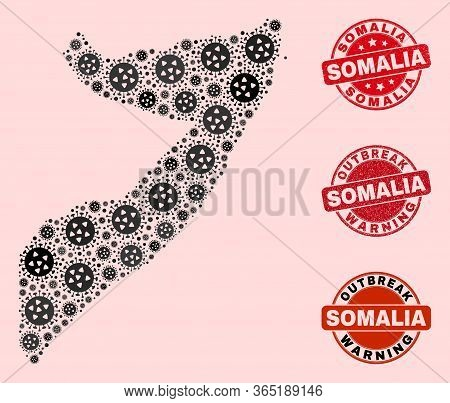 Outbreak Collage Of Covid-2019 Mosaic Somalia Map And Rubber Seals. Vector Red Seals With Scratched