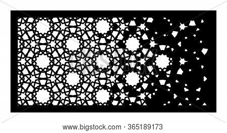 Decorative Vector Panel For Laser Cutting. Arabesque Laser Pattern. Islamic Template For Interior Pa