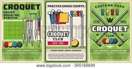 Croquet Sport Equipment Items, Club Tournament Game Mallet And Ball, Vector Posters. Croquet Sport P