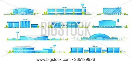 Airport Terminal Buildings, Vector Icons. International Airport And Hotel, Terminals With Air Traffi