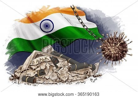 National Debt India. Global Money Loss Problem, Crisis And Bankruptcy Risk, Budget Recession. Wrecki