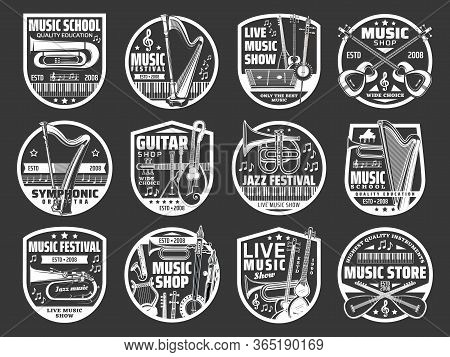 Music Shop, Jazz And Folk Live Music Festival Vector Icons. Musical Instruments Store And Guitar Sho