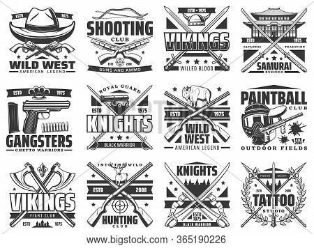 Guns, Battle Weapon And Hunting Ammo Vector Icons. Wild West Revolver Guns, Tattoo Studio Spear Sign