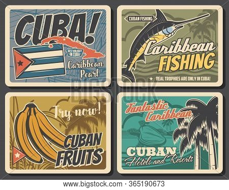 Cuba Travel Attractions, Tourism And Havana City Trips Vector Vintage Posters. Cuban Sea Hotels And