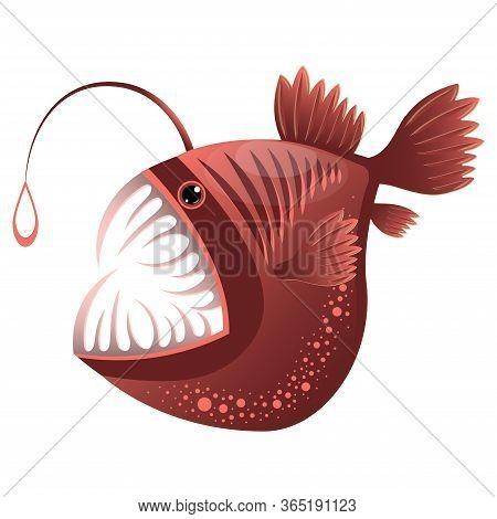 Angler Fish, Lophius Piscatorius. Bright Tropical Fish. Isolated On White. Underwater World.