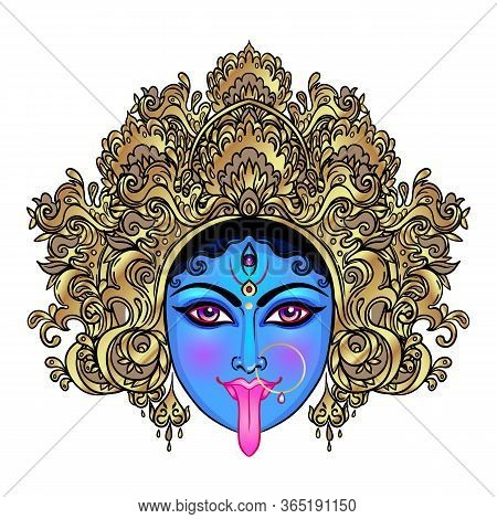 Portrait Of Indian Hindi Goddess Kali. Female Blue Head With Open Moth And Out Stuck Tongue. Destroy