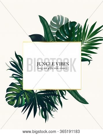 Nature Tropical Arrangement, Exotic Leaves Vector Bouquet, Holiday Design, Wedding Invitation, Party