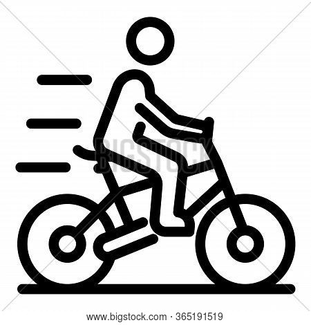 Man On Bicycle Icon. Outline Man On Bicycle Vector Icon For Web Design Isolated On White Background